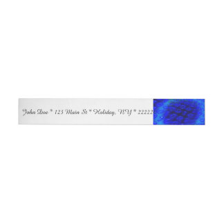 Neon Blue Binary Abstract Wrap Around Address Label