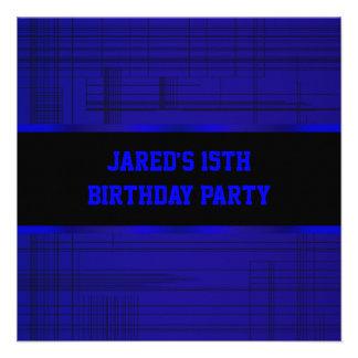 Neon Blue Black Stripe Boys 15th Birthday Party Personalized Invites