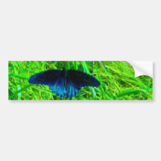 neon blue butterfly  bright green background bumper sticker