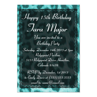 Neon Blue Cheetah Lace Birthday Party Invitation