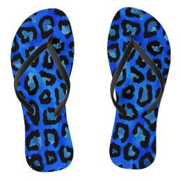 Neon Blue Cheetah Vector Flip Flops