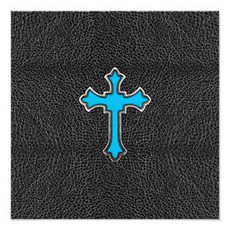 Neon Blue Cross Black Vintage Leather Image Print Photo Print