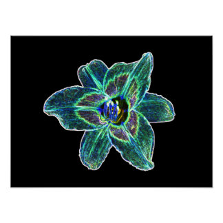 Neon Blue Daylily Poster