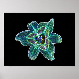 Neon Blue Daylily Print