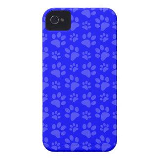 Neon blue dog paw print pattern iPhone 4 Case-Mate case