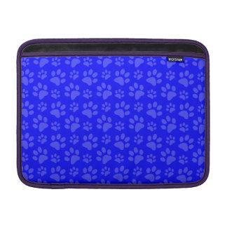 Neon blue dog paw print pattern MacBook sleeves