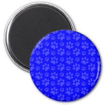 Neon blue dog paw print pattern magnet