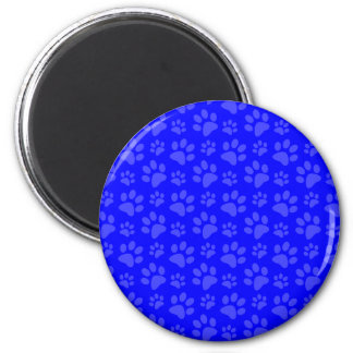 Neon blue dog paw print pattern refrigerator magnet