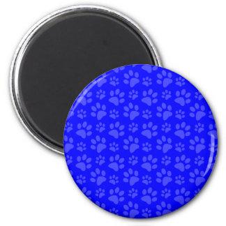 Neon blue dog paw print pattern magnet