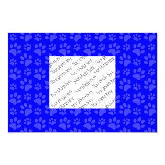 Neon blue dog paw print pattern photo print