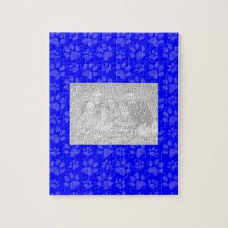 Neon blue dog paw print pattern puzzles
