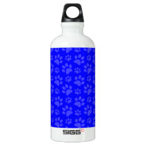 Neon blue dog paw print pattern water bottle