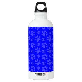 Neon blue dog paw print pattern water bottle