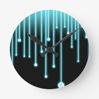 Neon Blue Drips Round Clock