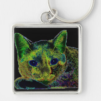 Neon Blue Eyed Cat Keychain
