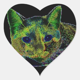 Neon Blue Eyed Cat Sticker