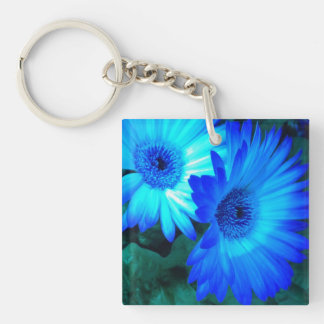 Neon Blue Gerber Daisies Keychain Square Acrylic Key Chains