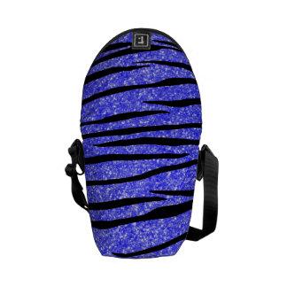 Neon blue glitter zebra stripes courier bags