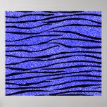 Neon blue glitter zebra stripes poster