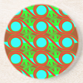 Neon blue green and reds art deco design drink coaster