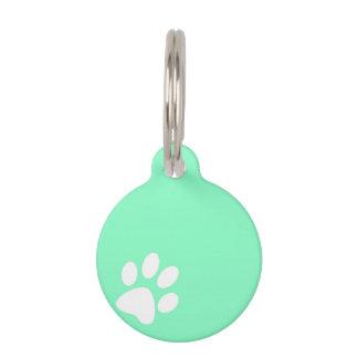 neon blue green paw print tag