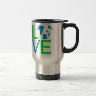Neon Blue & Green Pit Bull Love Travel Mug