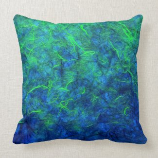 Neon blue green psychedelic Japanese rice paper Pillow