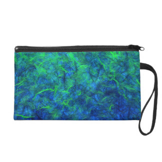 Neon blue green psychedelic Japanese rice paper Wristlet Purse