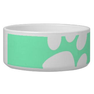 neon blue green teal paw print bowl