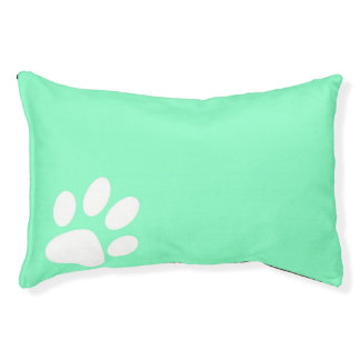 neon blue green teal paw print dog cat dog bed