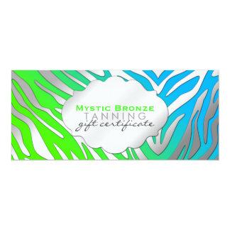 Neon Blue & Green Zebra Print Gift Certificates Card