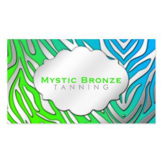Neon Blue & Green Zebra Print Tanning/Salon Business Card