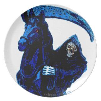Neon Blue Grim Reaper Horseman Series by Valpyra Dinner Plate