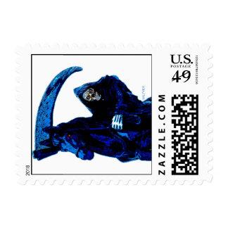 Neon Blue Grim Reaper Horseman Series by Valpyra Stamps