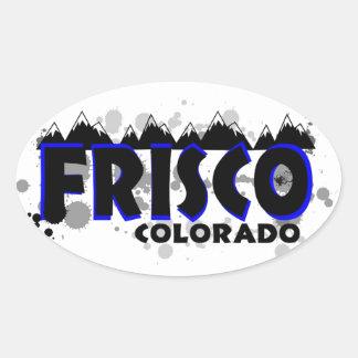 Neon blue grunge Frisco Colorado Oval Sticker