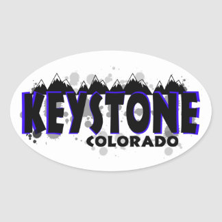 Neon blue grunge Keystone Colorado Oval Sticker