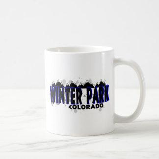 Neon blue grunge Winter Park Colorado Coffee Mug