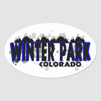 Neon blue grunge Winter Park Colorado Oval Sticker