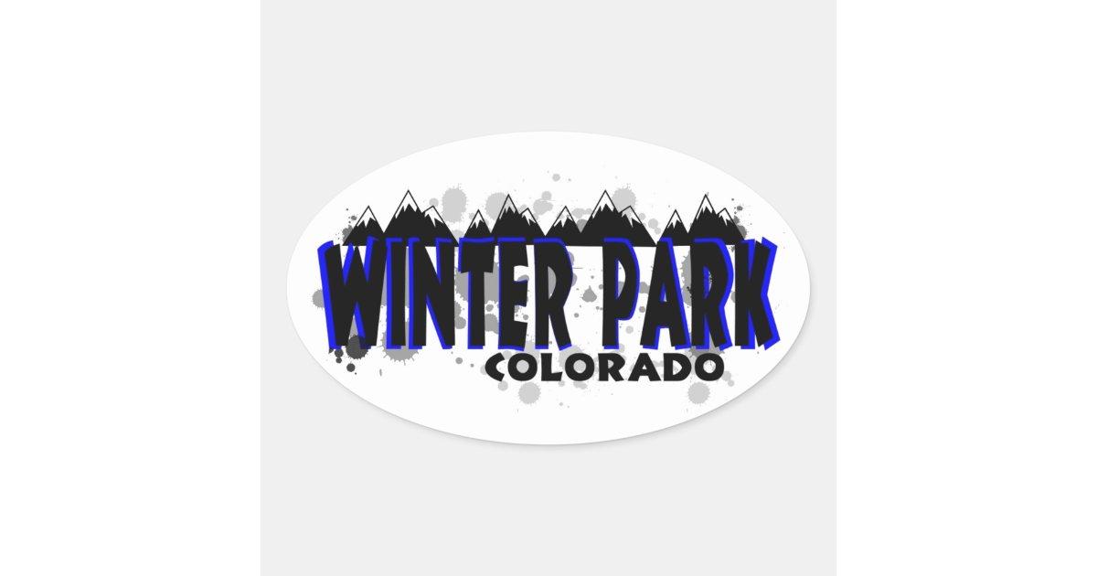 neon blue grunge winter park colorado oval sticker
