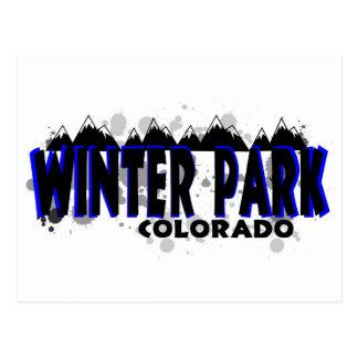 Neon blue grunge Winter Park Colorado Postcard