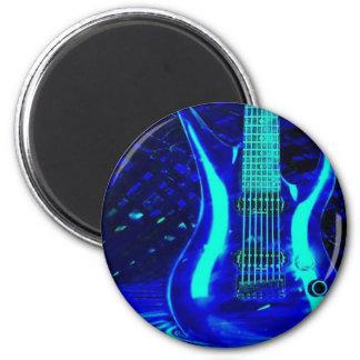 Neon blue guitar 2 inch round magnet