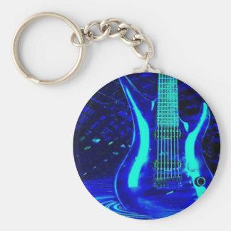 Neon blue guitar basic round button keychain