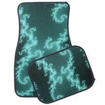 Neon Blue Hypnotic Fractal  Swirls Floor Mat