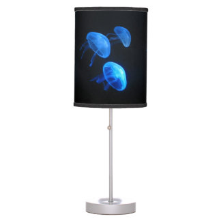 Neon blue jellyfish photo print table lamp design