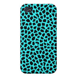 Neon Blue Leopard Print iPhone 4 Cases
