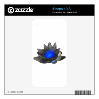 Neon Blue Lotus Skin For iPhone 4S