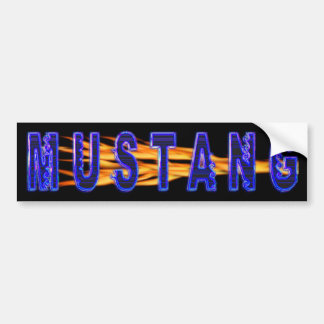 Neon Blue Mustang And Flames Bumper Sticker
