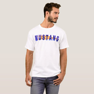 Neon Blue Mustang And Flames T-Shirt