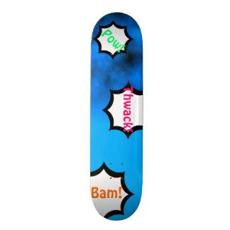 Neon Blue Night Sky With Black Comics Custom Deck Skate Board Deck