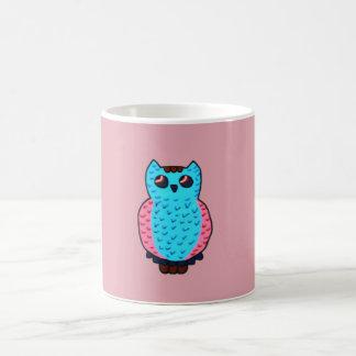 Neon Blue Owl Coffee Mug